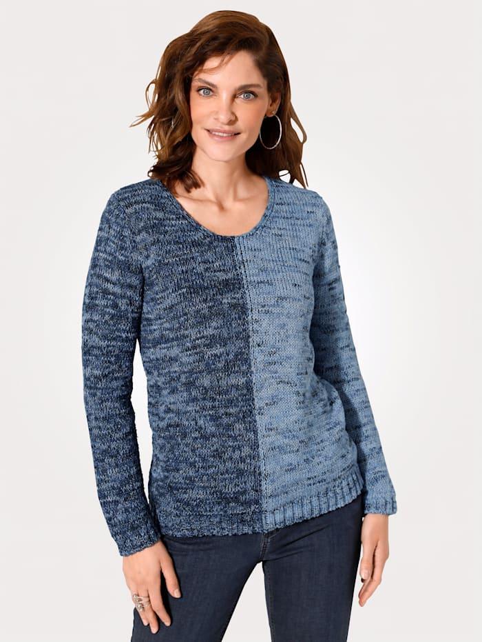 MONA Pullover in softer Glattstrick-Qualität, Hellblau/Dunkelblau