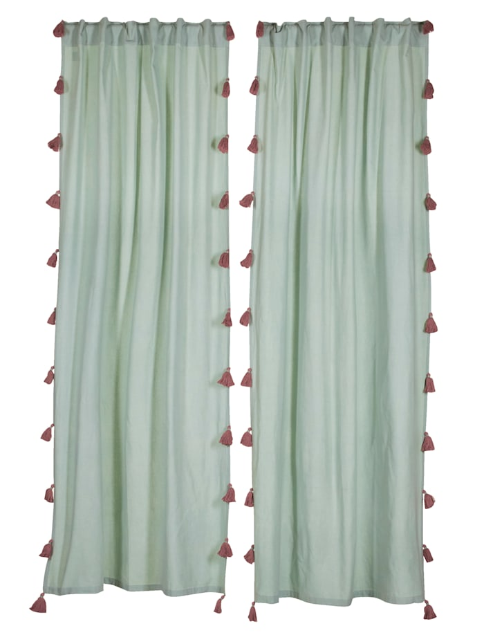 IMPRESSIONEN living Vorhang-Set, 2-tlg., mint/rosa