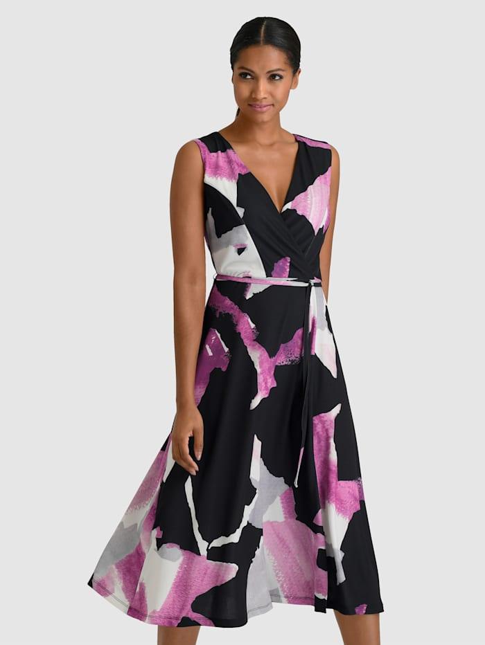 Alba Moda Kleid in modischen Grafik Print, Schwarz/Lila