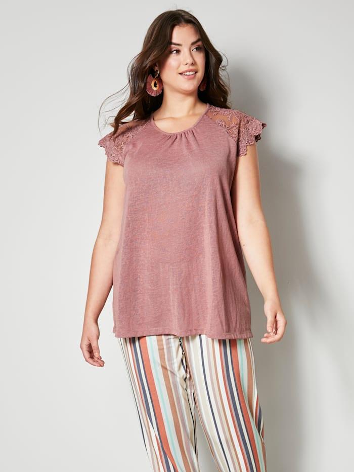 Angel of Style Shirt mit Ärmeln aus Spitze, Mauve