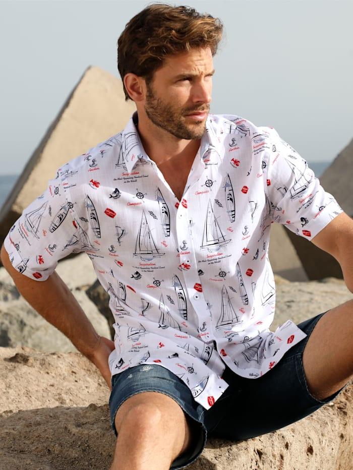 BABISTA Hemd in sommerlich leichter Qualität, Weiß/Marineblau/Rot