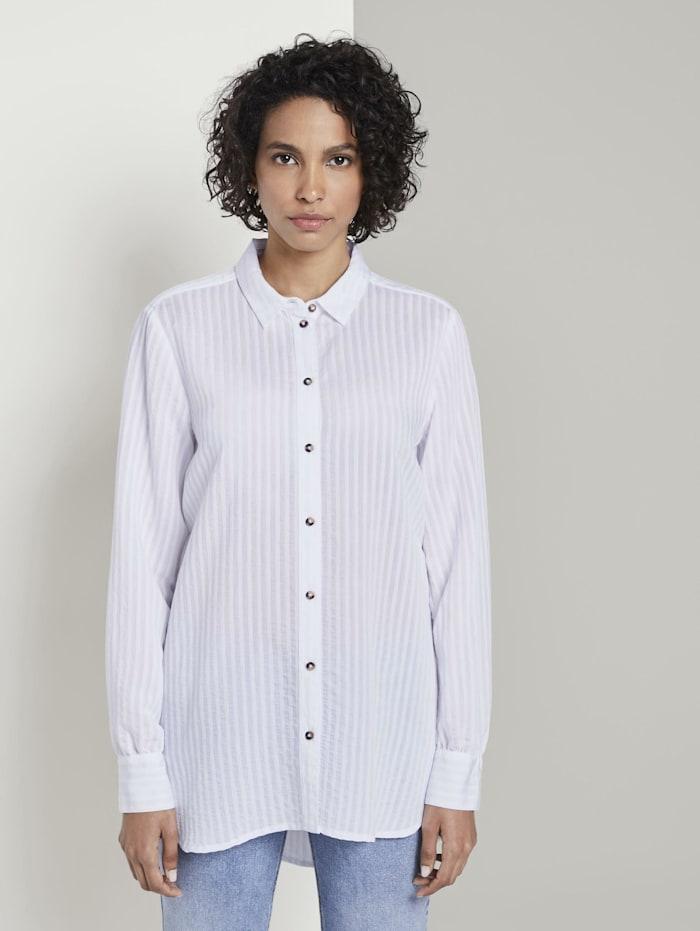 Tom Tailor mine to five Strukturierte Bluse mit Hemd-Kragen, White