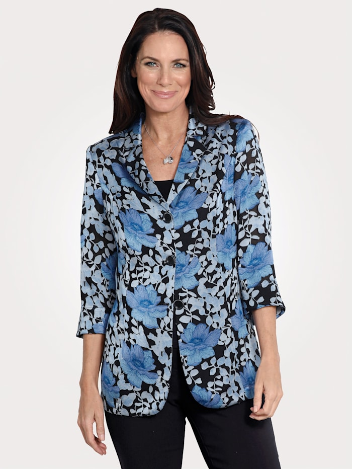 MONA Blazer en matière dévorée à fleurs, Noir/Bleu
