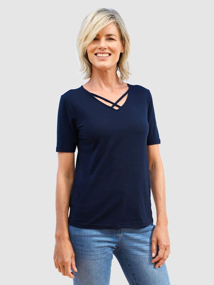 Dress In Shirt mit Ausschnittdetail, Marineblau