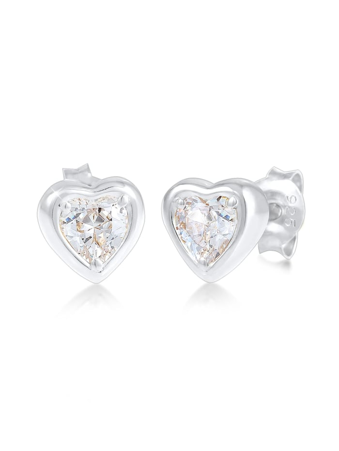 Elli Ohrringe Herz Liebe Symbol Zirkonia Kristalle 925 Silber, Silber