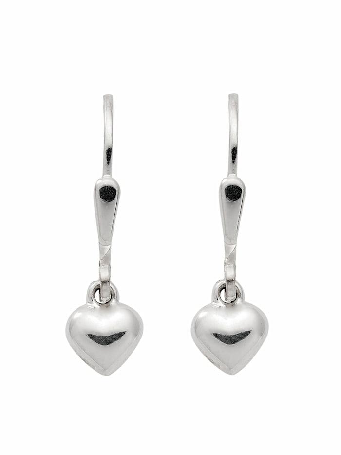 1001 Diamonds Damen Silberschmuck 925 Silber Ohrringe / Ohrhänger Herz, silber