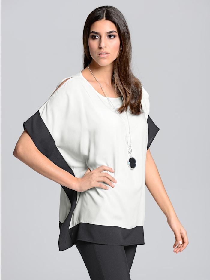 Alba Moda Blusenshirt in kontrastfarbiger Optik, Weiß/Schwarz