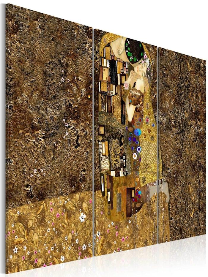 artgeist Wandbild Klimt Inspiration - Der Kuss, Gold,Gelb,Braun
