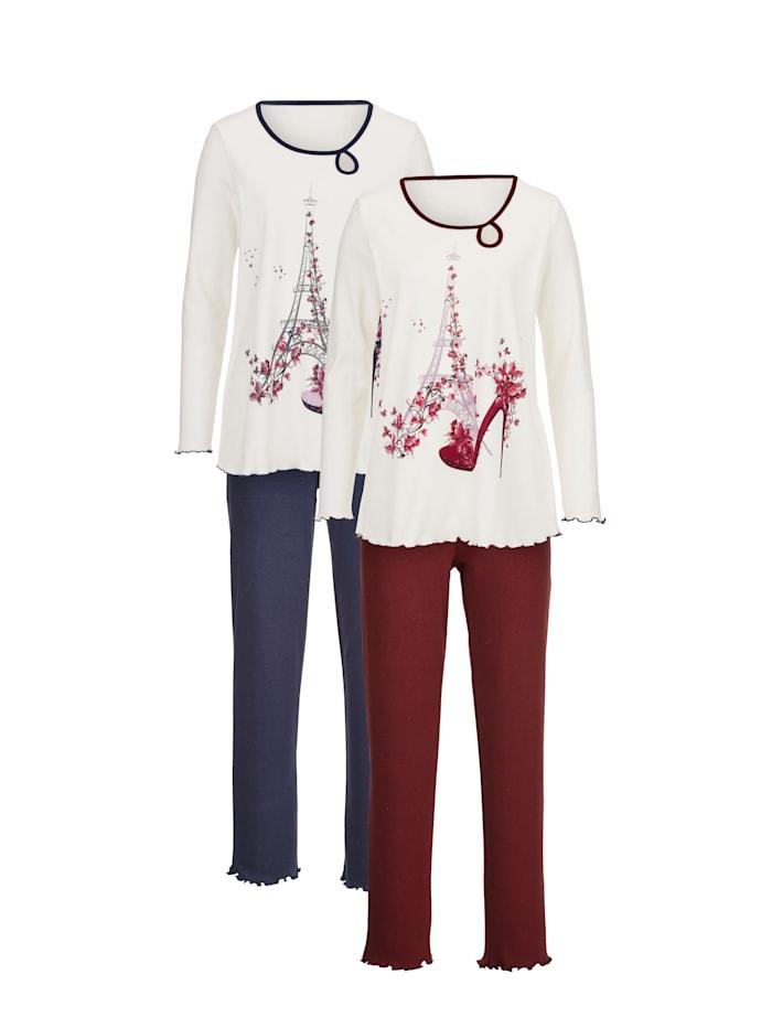 Blue Moon Pyžama s pekným vzorom potlače, Námornícka/Bordová/Ecru