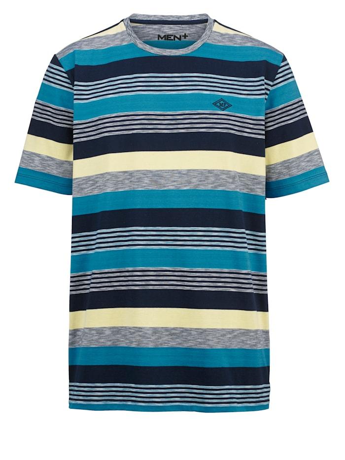 Men Plus T-shirt med ränder, Turkos/Marinblå/Gul