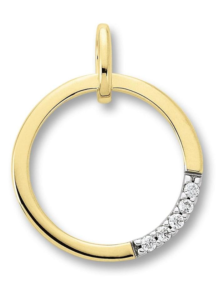 One Element Damen Schmuck Anhänger aus 585 Gelbgold mit 0,03 ct Diamant, gold