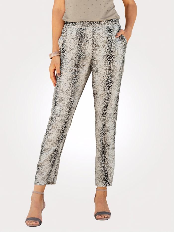 MONA Pantalon à ravissant motif léopard, Écru/Taupe/Noir