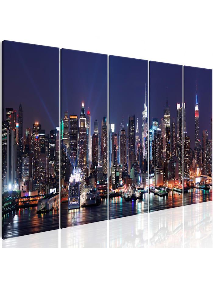 artgeist Wandbild New York: Live by Night, Orange,Schwarz,Blau,Weiß