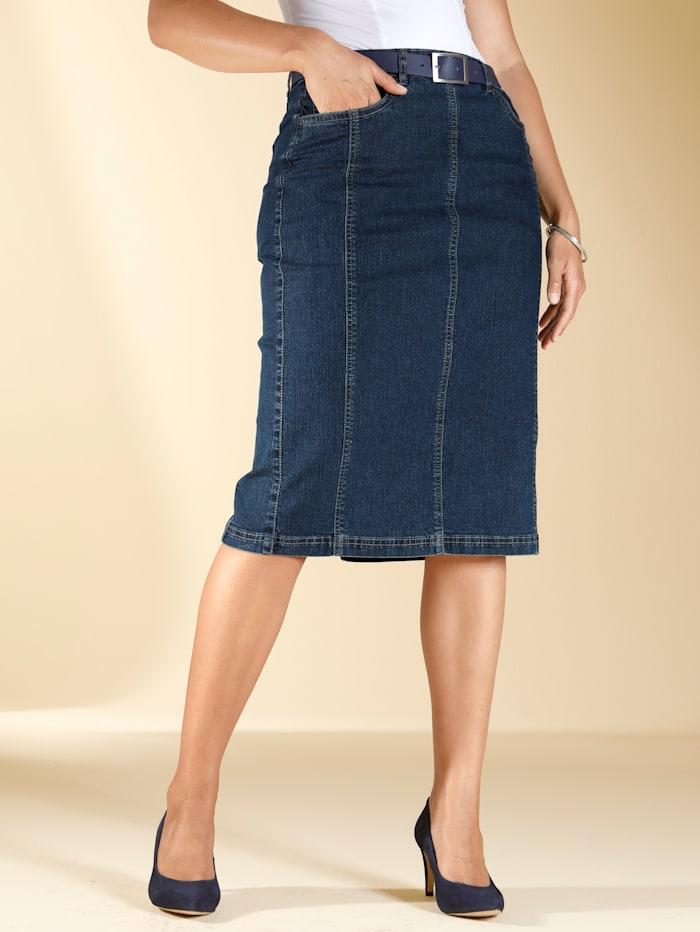 m. collection Jupe avec poches côtés, Blue stone