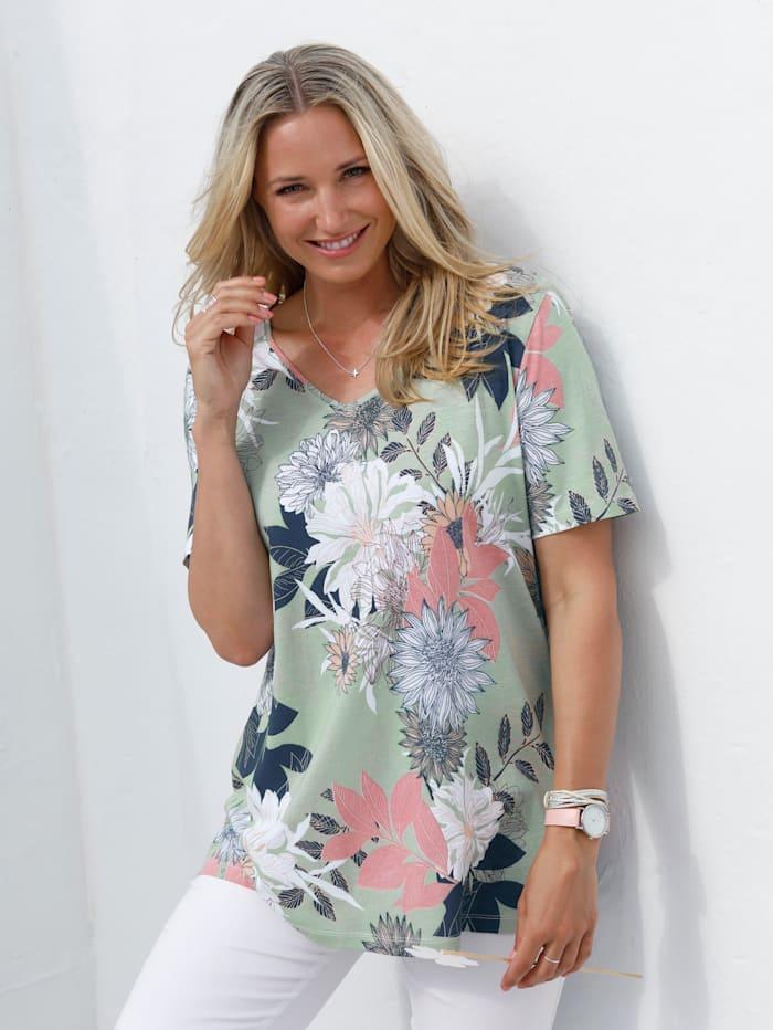 MIAMODA T-shirt à imprimé fleuri, Multicolore