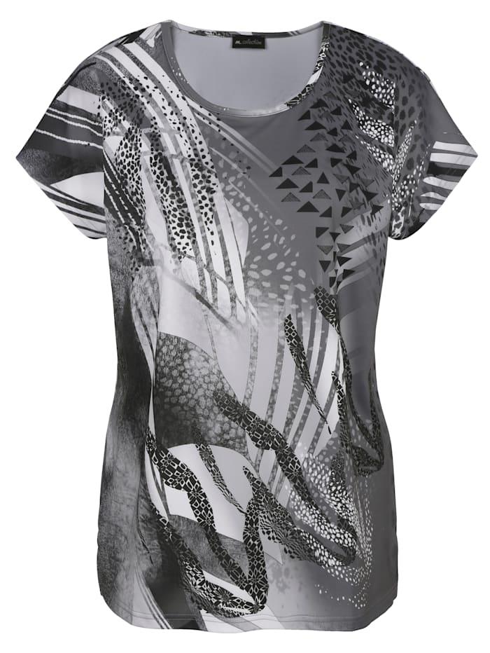 m. collection Shirt mit platziertem, grafischem Druckdesign, Weiß/Schwarz