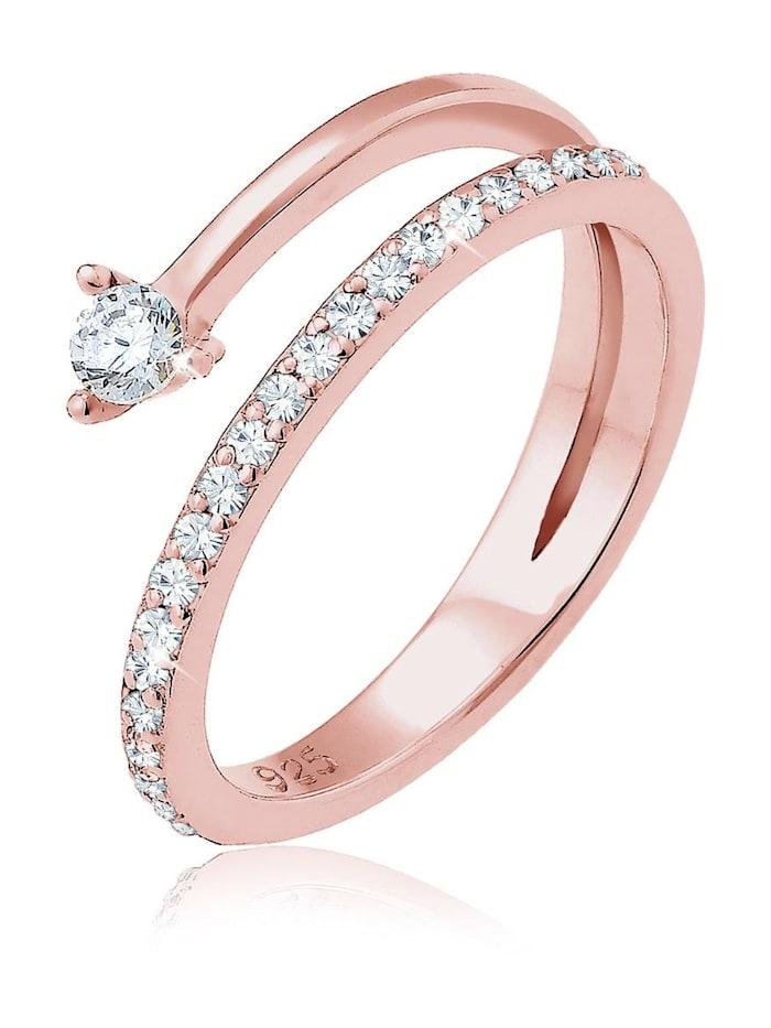 Elli Ring Pfeil Zart Zirkonia Swarovski® Kristalle Silber, Rosegold