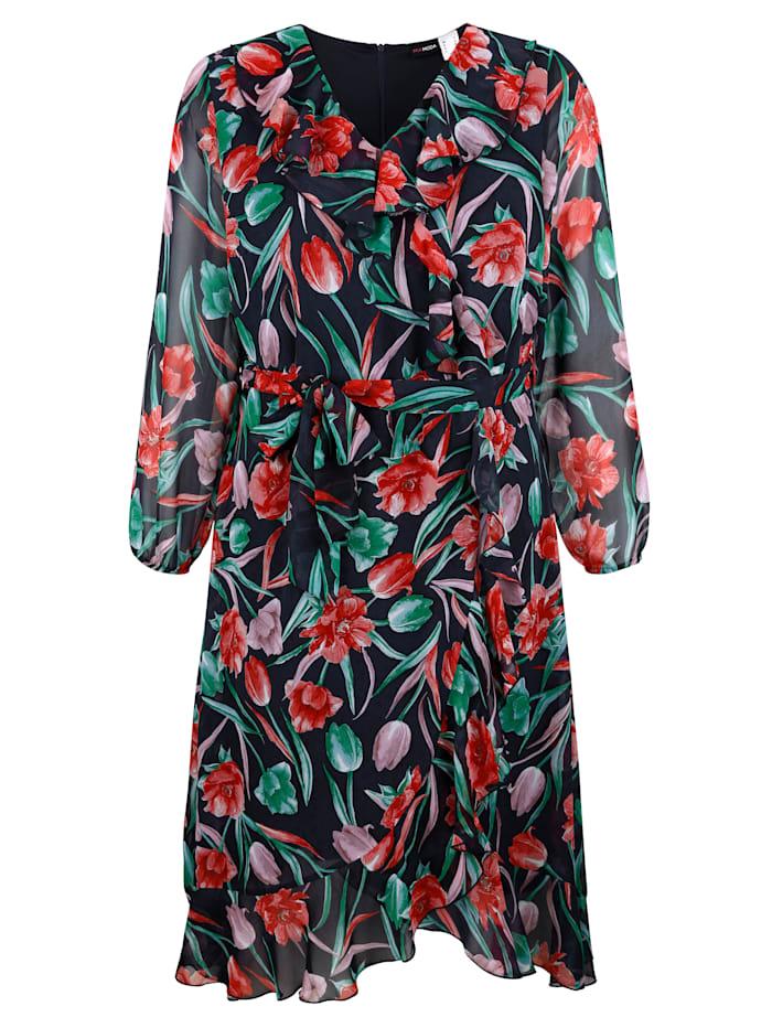 MIAMODA Šaty s predlžujúcim V-výstrihom, Multicolor