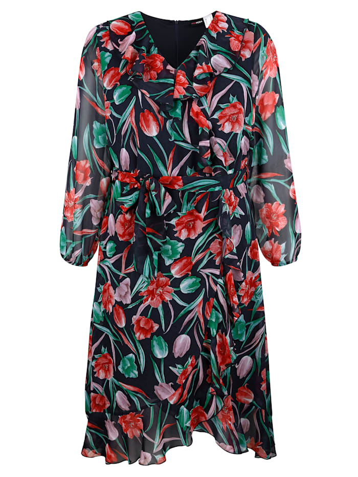 MIAMODA Šaty s prodlužujícím výstřihem do V, Multicolor