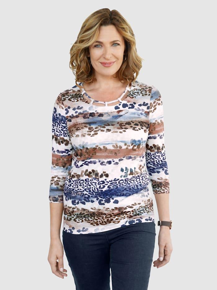 Paola T-shirt à imprimé séduisant, Marine/Marron/Bleu ciel