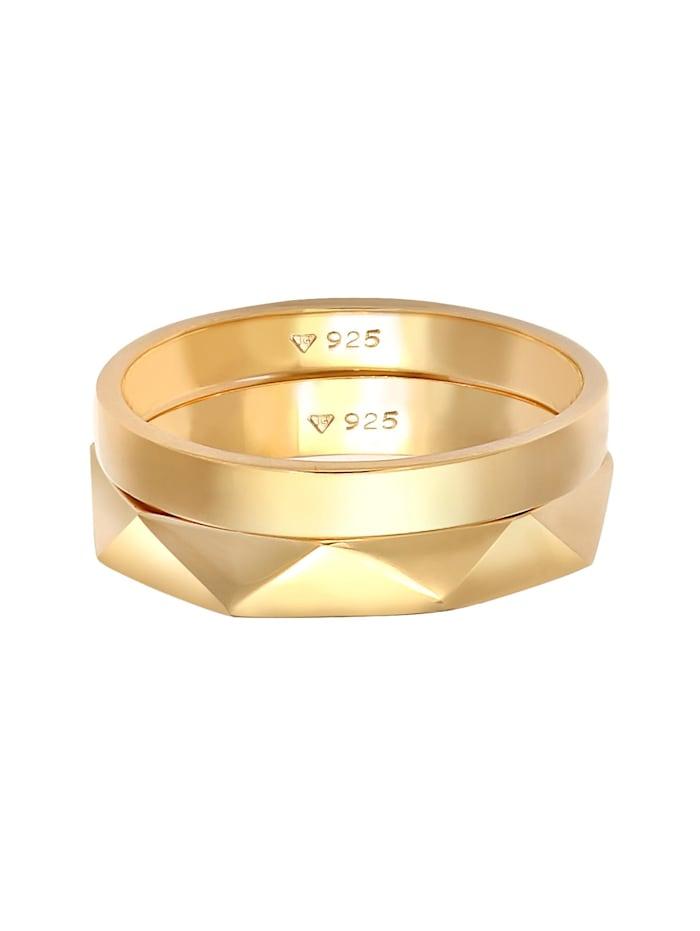Ring Bandring Basic Hexagon Look 2Er Set 925 Silber