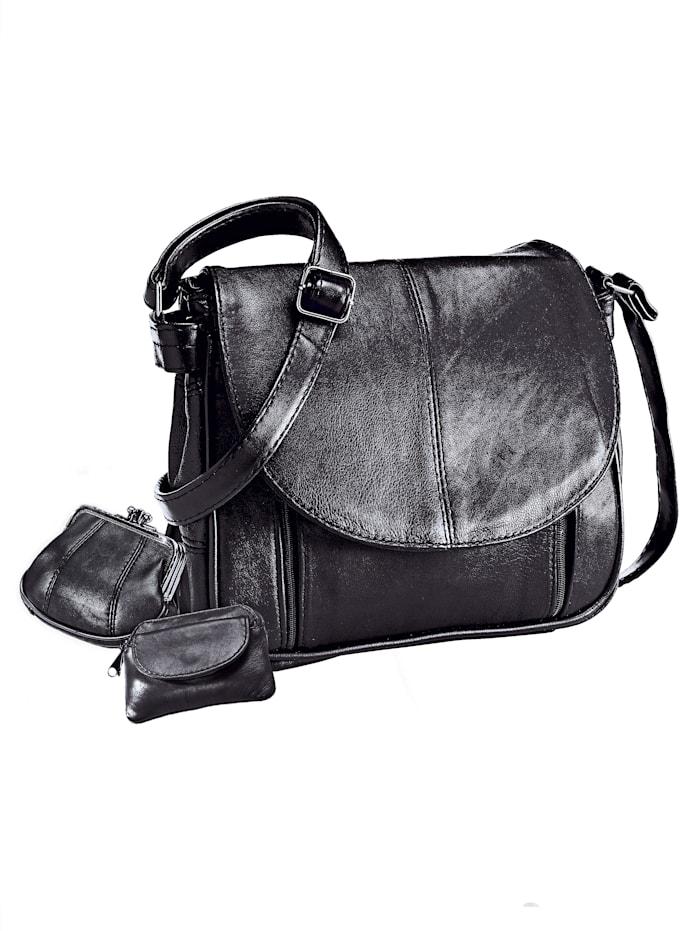 Renato Santi Taschenset 3-tlg. mit passender Geldbörse 3-teilig, schwarz