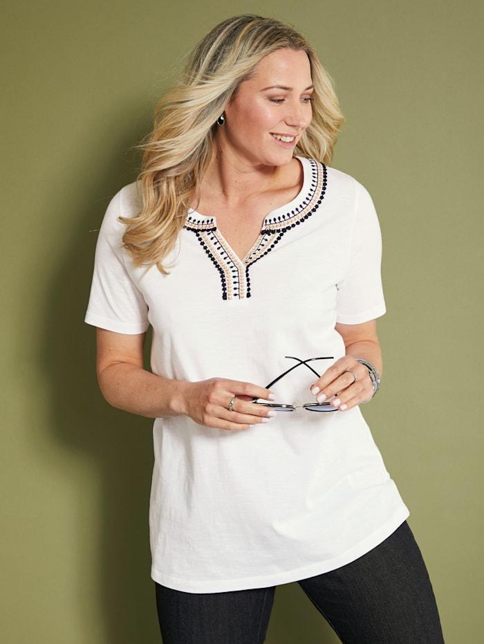 MIAMODA Shirt mit dekorativem Ausschnitt, Creme-Weiß