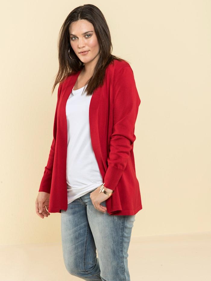 Janet & Joyce Basic pletený svetr, otevřený střih, Červená