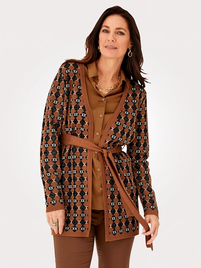 MONA Cardigan in a shimmering finish, Brown/Black/White