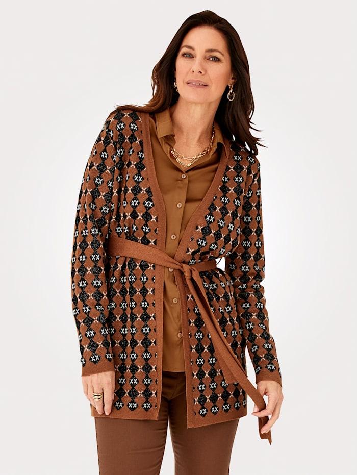 MONA Vest met chique glans, Bruin/Zwart/Wit