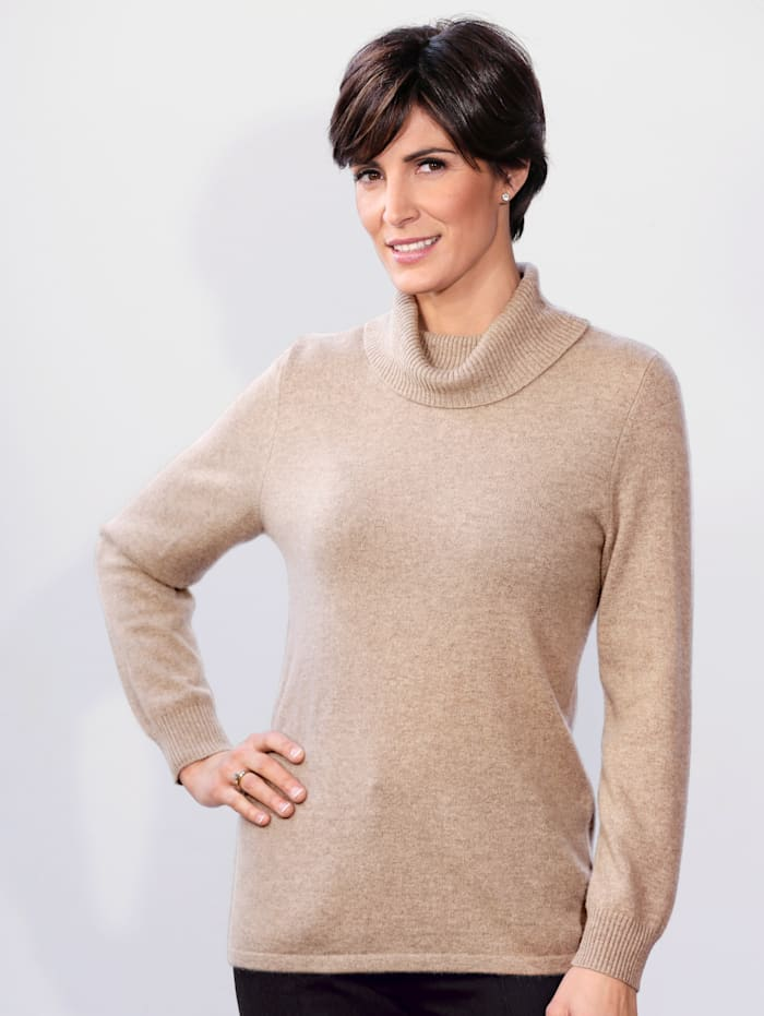 MONA Kaschmir-Pullover mit Rollkragen, Beige
