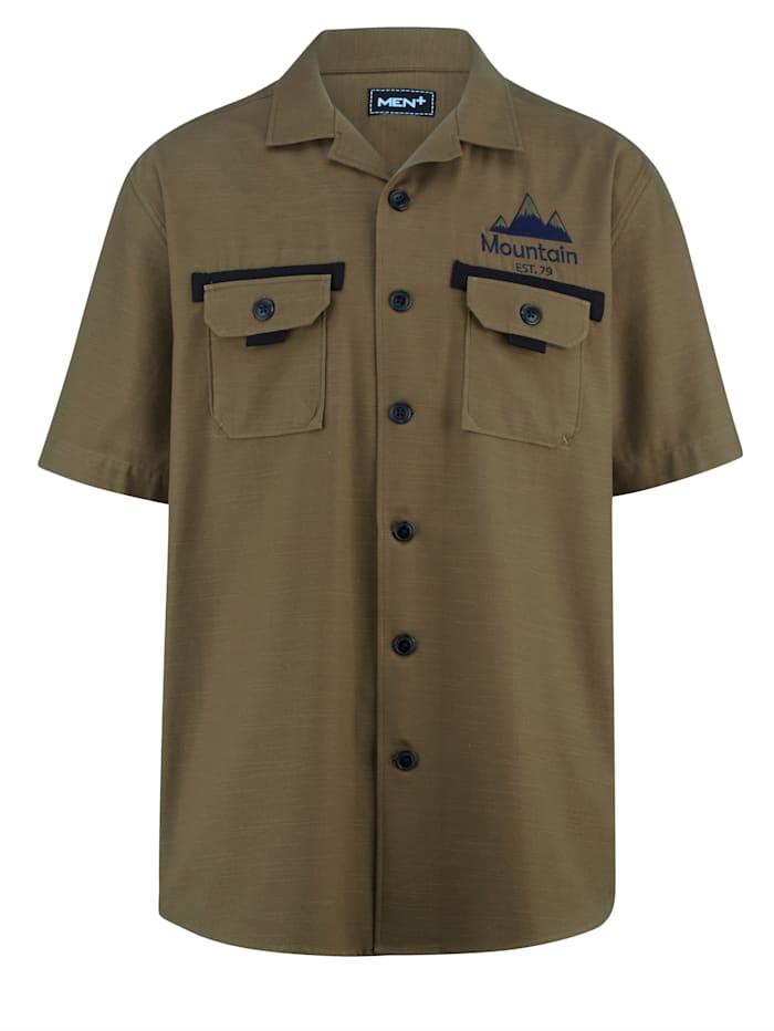 Men Plus Skjorta av 100% bomull, Olivgrön/Svart