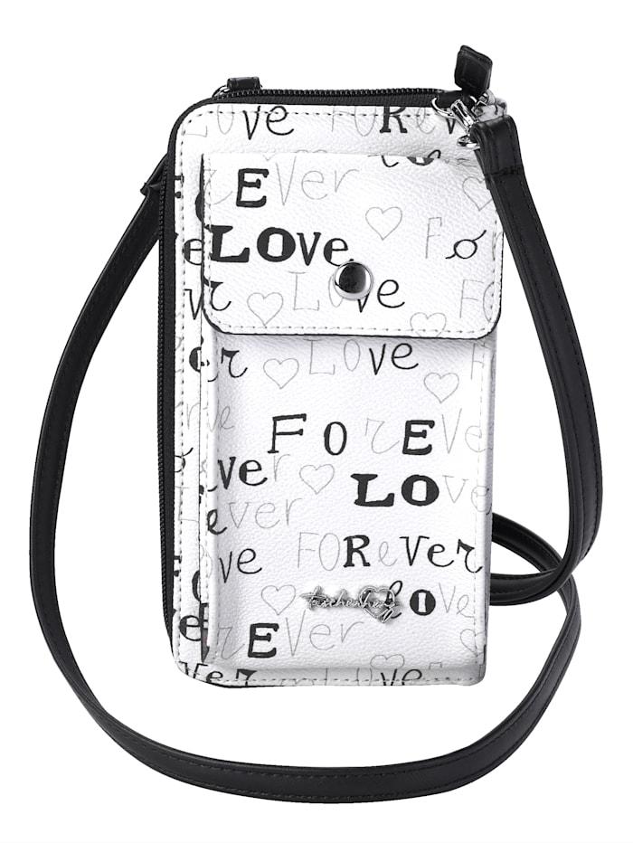Taschenherz Kännykkälaukku / Lompakkolaukku love-tekstiprintillä, valkoinen/musta