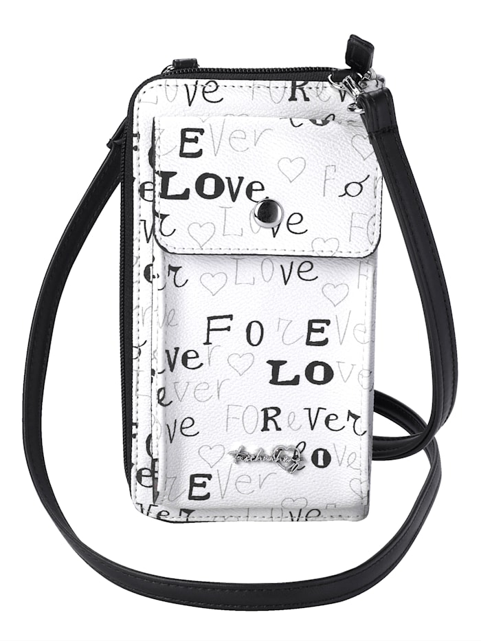 Taschenherz Telefoontasje inclusief kleine portemonnee, Wit/Zwart