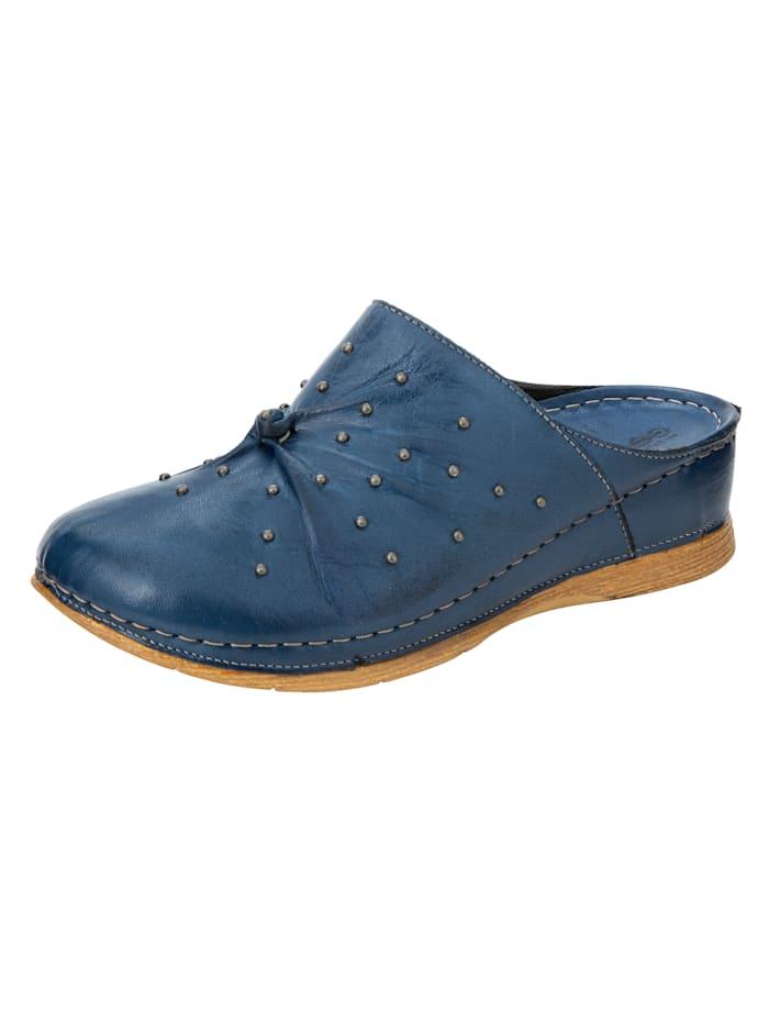 Gemini Clogs à talon compensé recouvert, Bleu