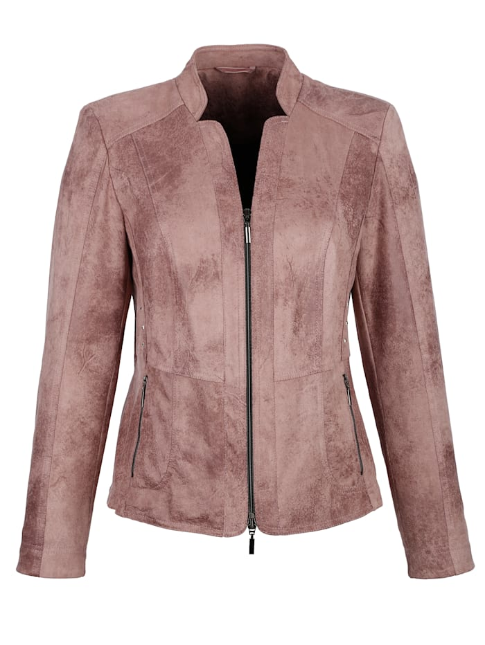 Faux leather blazer in a distressed finish