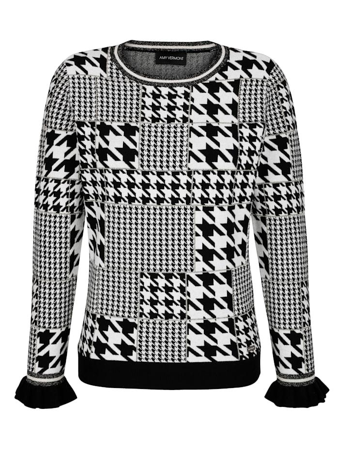 Pullover mit Hahnentritt und Glanzgarn