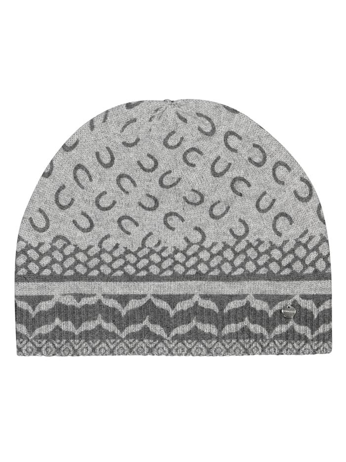 Codello Premium Mütze mit Monogramm-Muster, grey