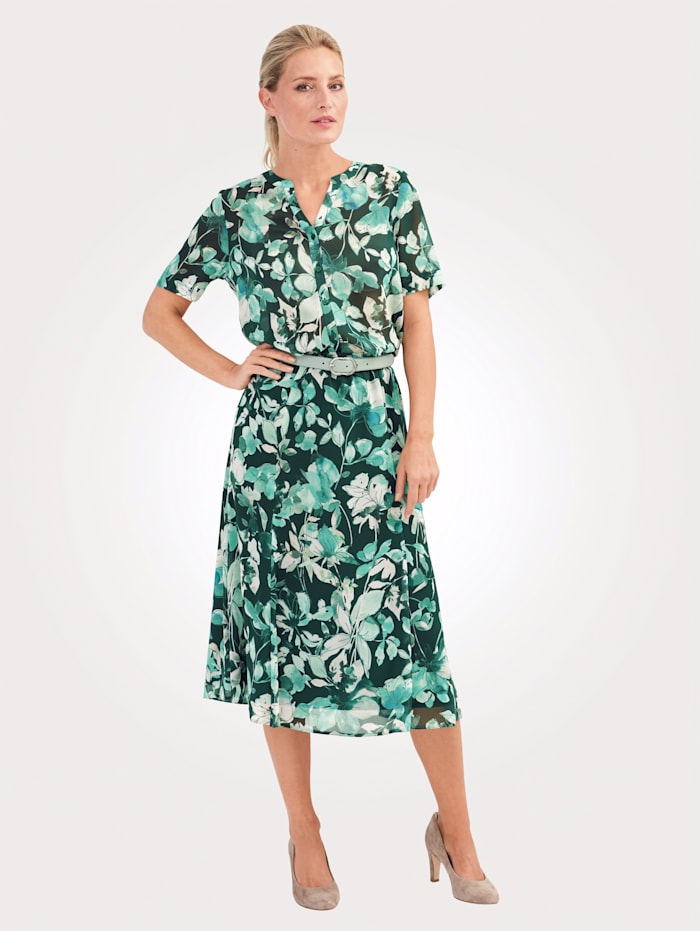 MONA Bluse mit floralem Druck, Grün/Mintgrün