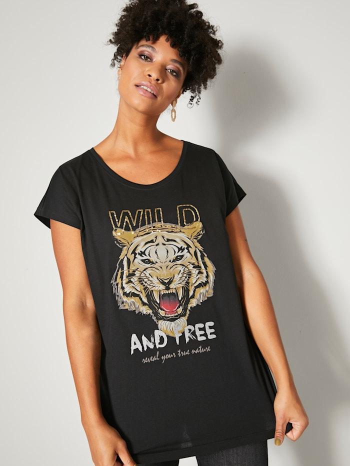 Angel of Style Shirt mit Pailletten, Schwarz