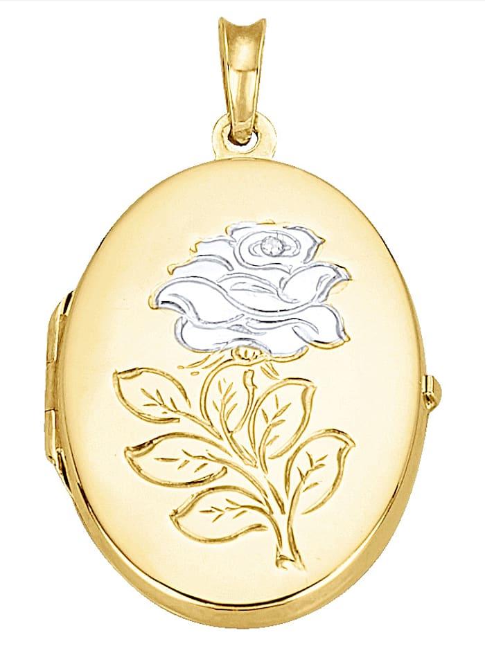 Pendentif médaillon avec diamant, Coloris or jaune