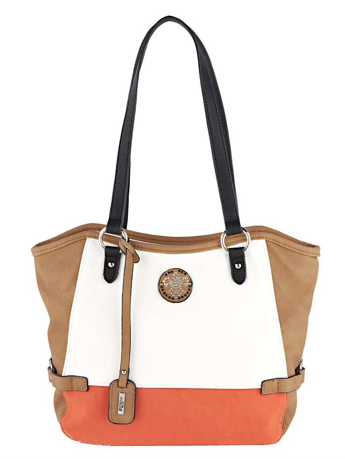 Rieker Handbag with rhinestones, White/Nude/Orange