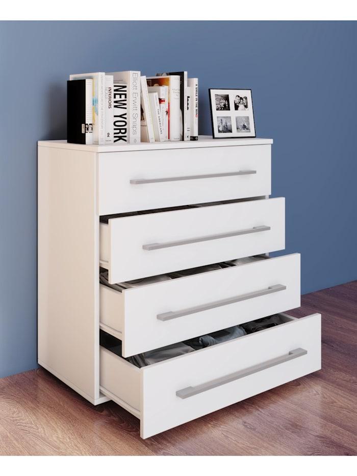 VCM Kommode Serie Sidal L, 4 Schubladen: Weiß / Weiß
