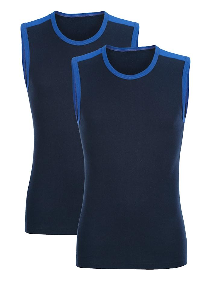 Cityshirt mit kontrastfarbigem Einsatz an den Schultern 2er Pack