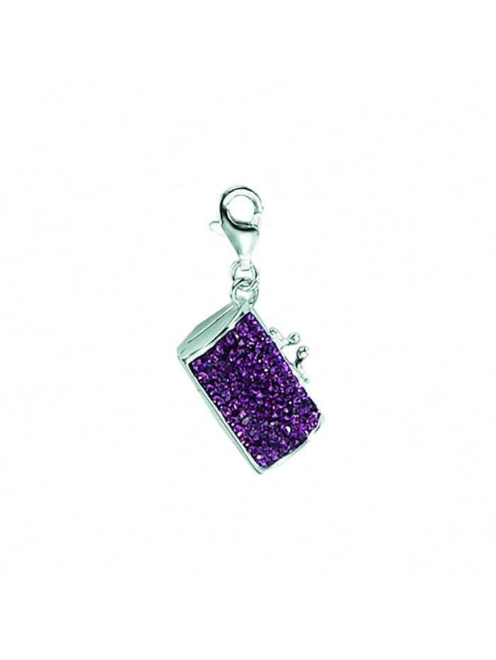 1001 Diamonds Damen Silberschmuck 925 Silber Charms Anhänger Tasche mit Glasstein, bunt/multi