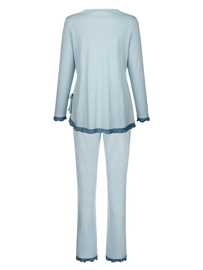 Schlafanzug mit schöner Spitze und Wellensaumabschlüssen