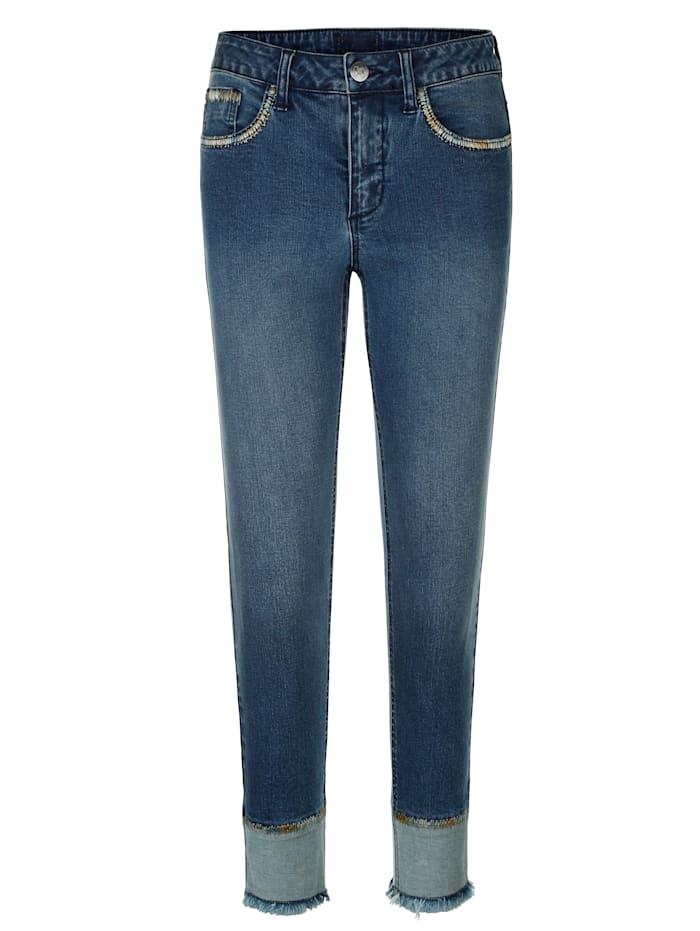 AMY VERMONT Jeans mit Zierstickereien, Blue stone