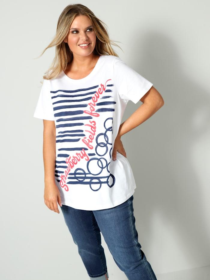 Janet & Joyce Shirt van zuiver katoen, Wit/Koraal/Marine
