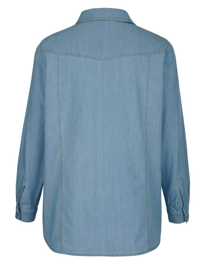 Džínsová blúzka s kontrastným šitím