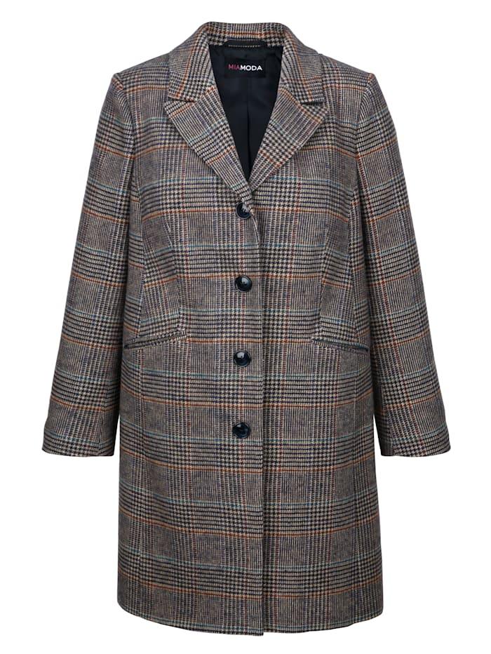 Wollen mantel met ruitpatroon